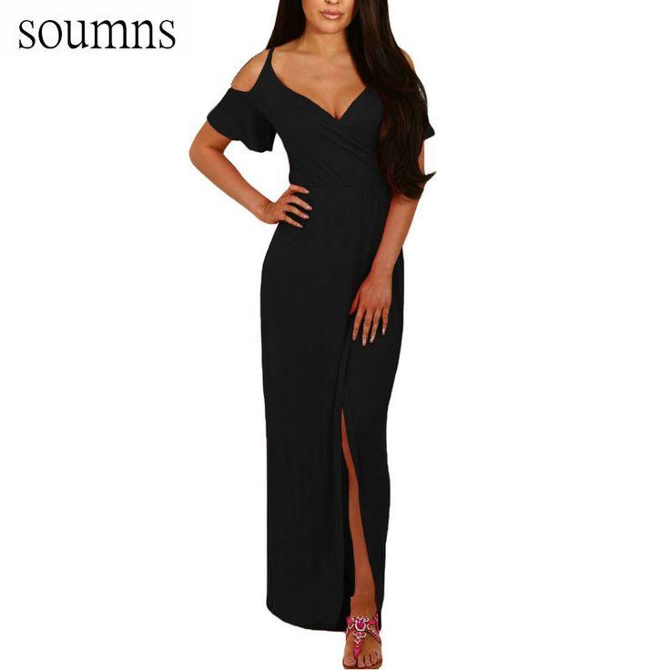 >> Click to Buy << Soumns Dames Zomerjurkjes Vrouwen Kobaltblauw Koude Schouder Lange Jersey Jurk Gewaad Femme Vestidos Festa SY61546 #Affiliate