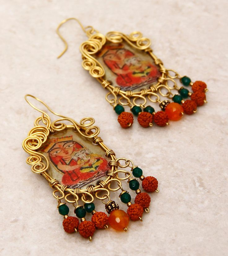 SILVER NUT TREE - Red Painted & Embellished Pet Plastic Earrings  Click on the photo to shop! :)