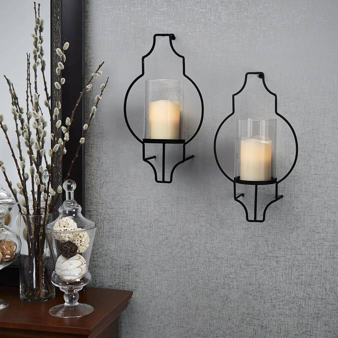 Hurricane Glass Flameless Candle Wall Sconce with Remote, Set of 2 Hurricane glass, Flameless ...