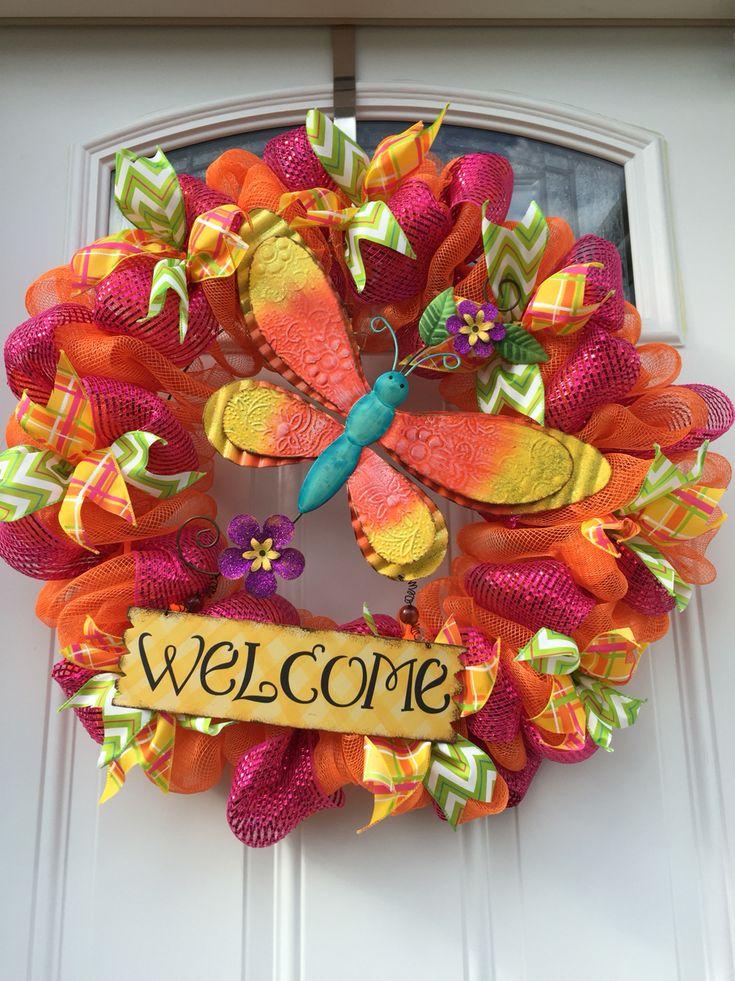 Summer dragonfly deco mesh wreath