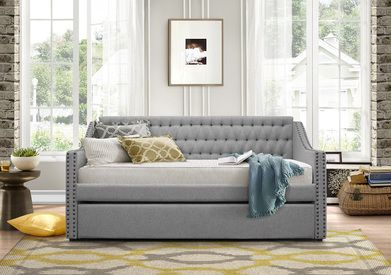 Homelegance Torrence Sleigh Tufted Daybed with Trundle in Grey                                                                                                                                                     More