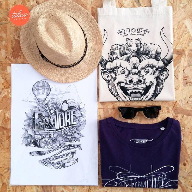 """Sélection Spéciale pour les Voyageurs et Aventuriers >>> #Panama Miss NA / #Totebag CHIZ / #Lunettes de soleil de DO YOU SEA / #Tshirt """"Prendre le temps de regarder """" TULAVU / #Artprint """"Explore"""" #Artiste NEURÖNE"""