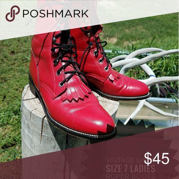 VINTAGE ROPER BOOTS 1980's Vintage Ladies Roper boots Justin Boots Shoes Lace Up Boots