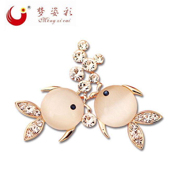 MZC Fashion Brooch Dress Suit Lapel Pins Rose Gold Rhinestone Brooches Wedding Opal  Brooch Bouquet Metal Fish Brooch