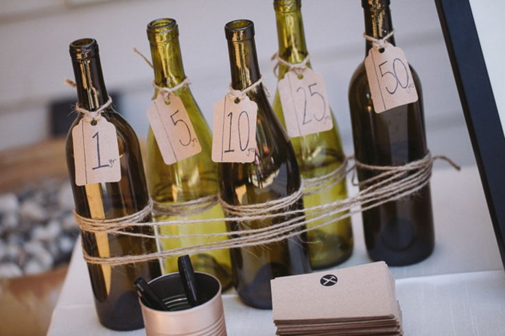 Wine Bottles for Table Numbers or other information- twine tied mini-signage