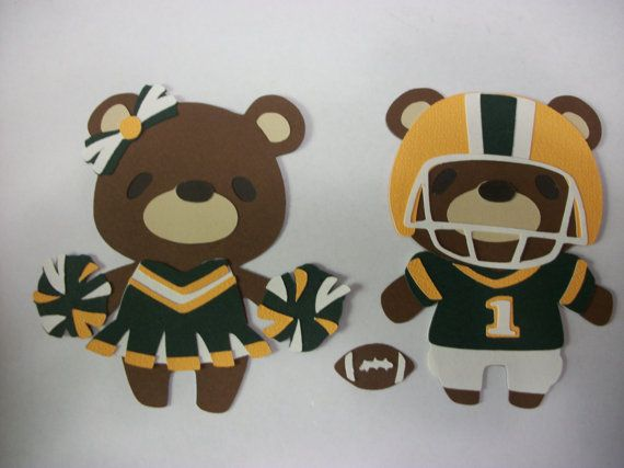 Cricut Teddy Bear Parade Football Player and Cheerleader Die Cut Paper Piecing Scrapbook