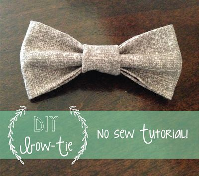 No Sew: Baby Bow-tie Tutorial - need to make a grey one for his Xmas outfit