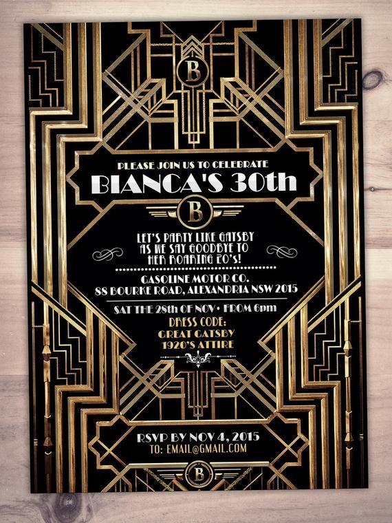 Great Gatsby Birthday Invitation Roaring 20 S Hollywood Film