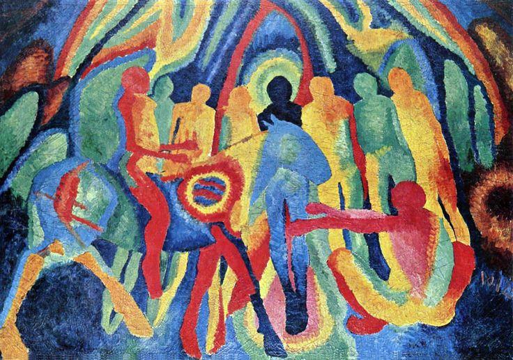 Wilhelm Morgner (1891 – 1917) : l'entrée du Christ à Jérusalem. 1912. Huile sur toile, 119 x 171 cm. Dortmund, Museum am Ostwall.