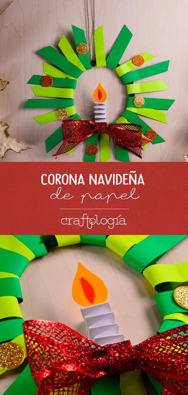 Corona Navideña De Papel Ideas Navideñas Corona Navideña De