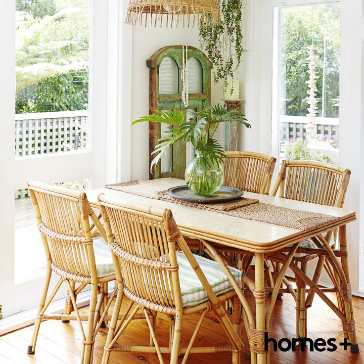 A charming #cane #dining setting in Di's bright and sunny #readerhome. As featured in the June 2015 issue of homes+. #natural #furniture