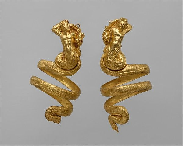 Pair of gold armbands, ca. 200 B.C.Hellenistic Greek. Gold. The Metropolitan Museum of Art, New York. Rogers Fund, 1956 (56.11.5, .6). #gold #jewelry