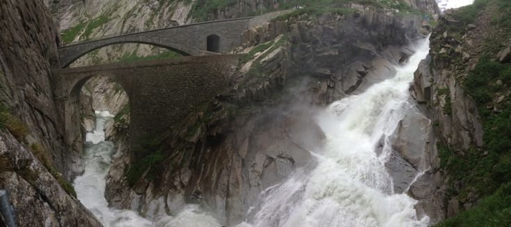 Waterfall at the #devils #bridge.   Welcome to the #mountaineers #lodge and #hostel in #andermatt, #swiss #Alps  www.basecamp-andermatt.com