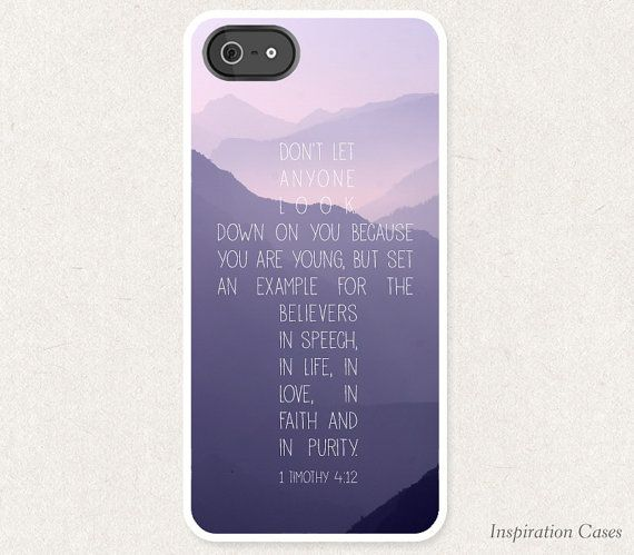 Bible Verse iPhone Case 1 Timothy 412 Cross by Inspirationcases,