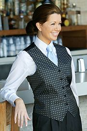 Women's Brocade Vest: Blue Dot [VPW5BK4] - http://www.uniformsolutionsforyou.com/restaurant-uniform/