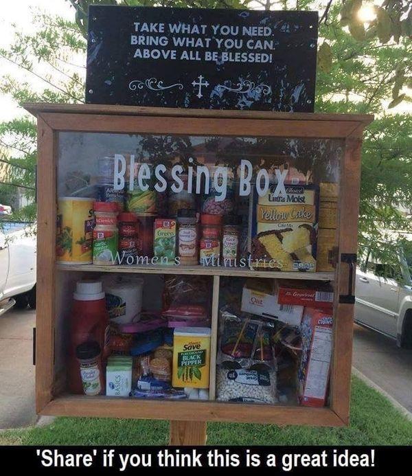 Anyone hear of a Blessing Box? Great idea!   charity. Ideas