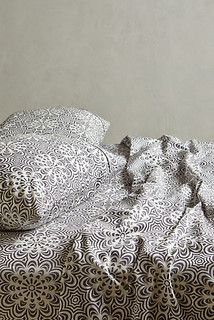 Geo Flora Sheet Set, Dark Gray - contemporary - sheets - by Anthropologie