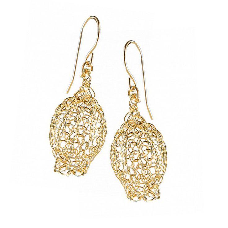 Dangle wire crocheted earrings, Pomegranate earrings