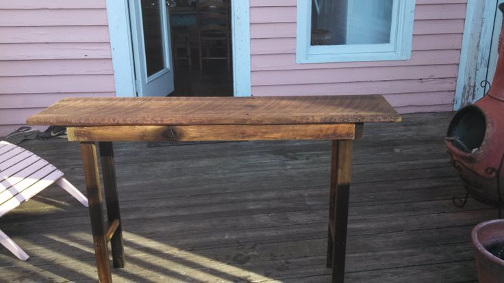 Wood from came from a barn in Hall County GA.  It is poplar and made up the feed trough in the barn.  It is 12x49.  The legs and frame had to be dressed to get them square but the top is pretty much as it was in the barn.  Saw marks on the face and the wear from the cows on the leading edge.  Not sure how old the barn was but one of the corner posts was a GA Power pine pole with a marker dating it to 1928.  I don't think the barn was that old though.  Finished with several coats of Danish…