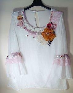 blouse-TOP-camicia-TUNIC-bianca-RICAMATA-A-MANO-boho-GIPSY-altered-ROMANTICA