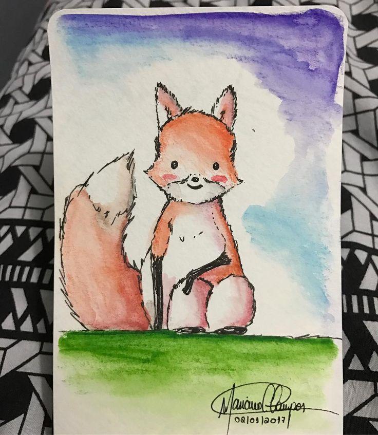 E o primeiro desenho do ano. #draw #drawings #sketch #desenho #esboço #artist #artista #creativity #criatividade #instaart #instart #artgram #artoftheday #art #creative #arte #watercolor #watercolorpainting #watercolorpainting  #fox #raposa #aquarelle #aquarelando #aquarellepainting