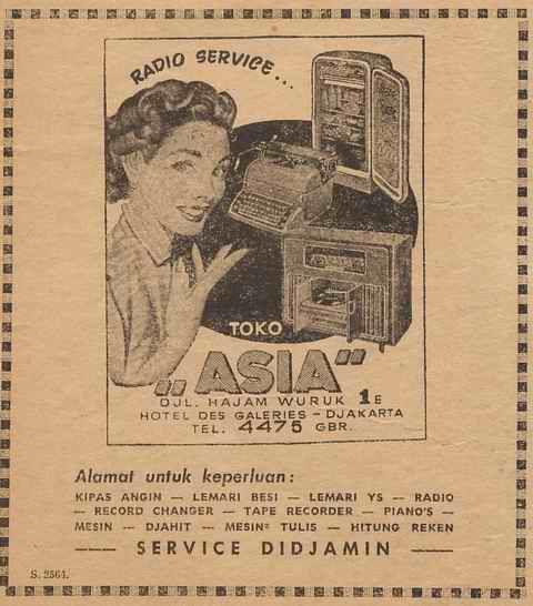 Toko ASIA (Djakarta) Servis Radio