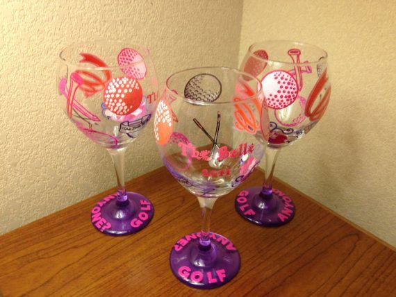 Custom Hand Painted Diva Girl Golf Wine Glass by Vinylmeplease, $27.95