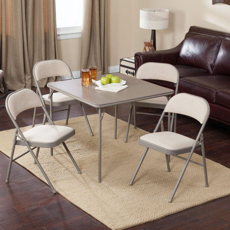 Meco Sudden Comfort Deluxe Double Padded Chair and Back- 5 Piece Card Table Set - Chicory - E47.25.L21
