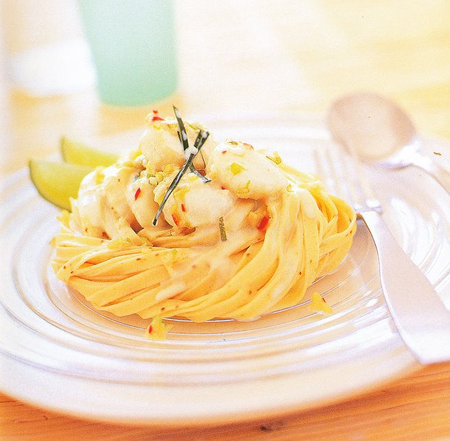Brabourne Farm Kitchen: Chilli Linguine with Scallops or Prawns and Lime