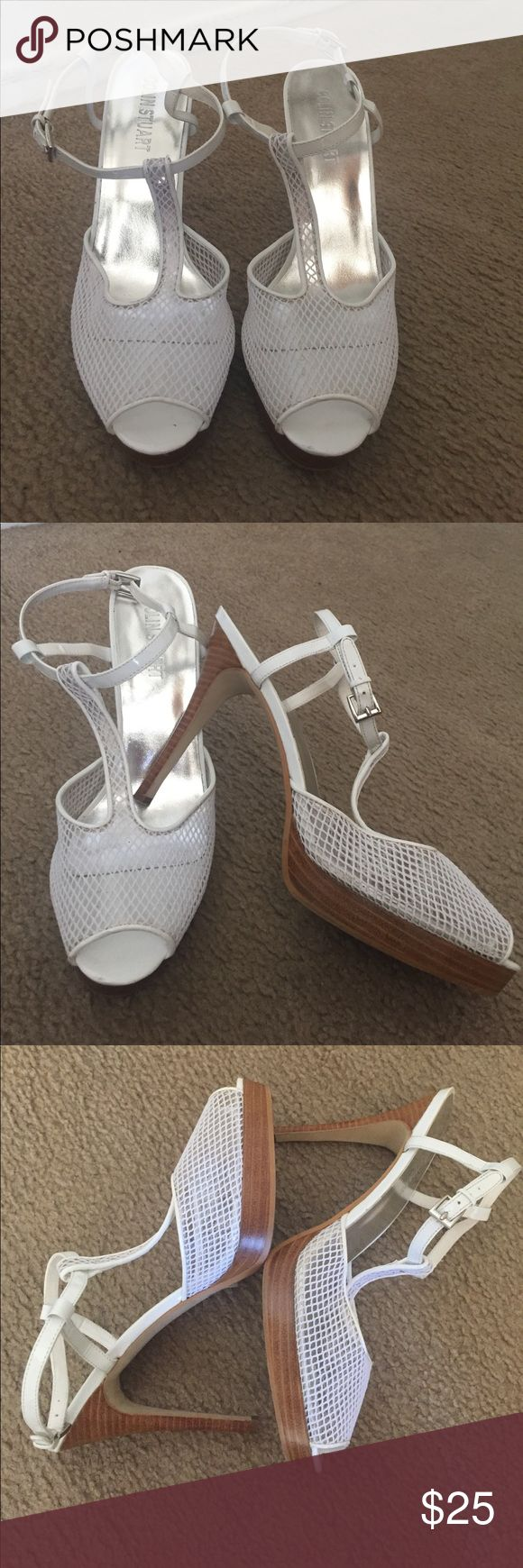 "Colin Stuart White Ankle Strapped Heels Colin Stuart White Ankle Strapped Heels   Size: 10   Brown heel.      Heel height: 4""   Small platform.    Gently used in great condition Colin Stuart Shoes Heels"