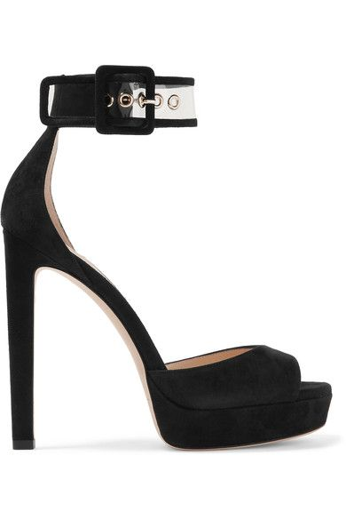 Jimmy Choo - Mayner Pvc-trimmed Suede Platform Sandals - Black - IT