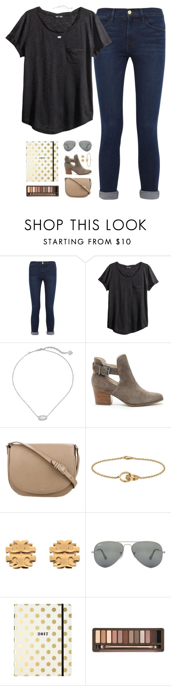 """mini"" by cjstefan ❤ liked on Polyvore featuring Frame Denim, H&M, Kendra Scott, Sole Society, CÉLINE, Cartier, Tory Burch, Ray-Ban, Kate Spade and Urban Decay"