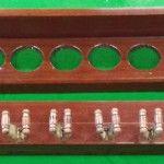 Antique mahogany snooker cue rack 12 clip. B564   Browns Antiques Billiards and Interiors.