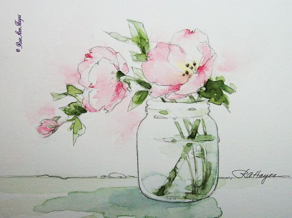 Pink Evening Primrose Print of Original Watercolor Painting by RoseAnn Hayes, available in Etsy shop