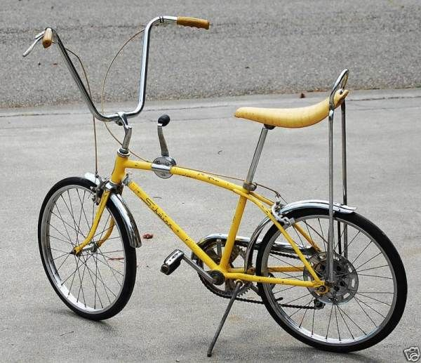 Schwinn Stingray bike with banana seat.  Mine was purple with a sparkly purple seat.