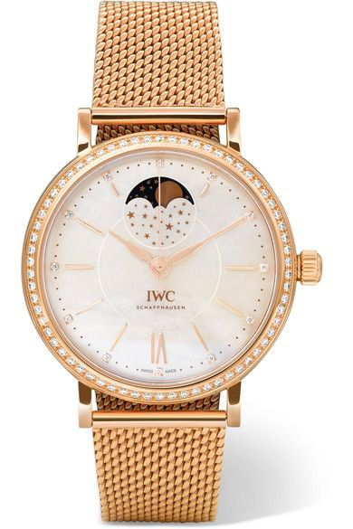 Shop IWC SCHAFFHAUSEN Portofino Automatic Moon Phase 37 18-karat red gold, mother-of-pearl and diamond watch