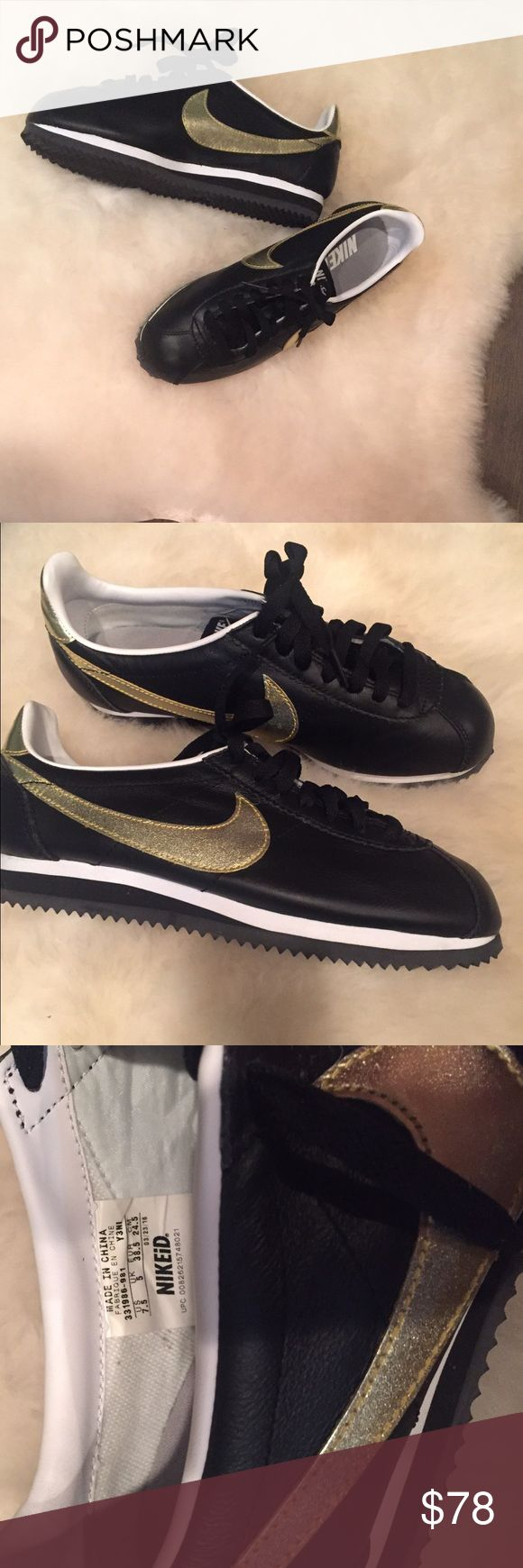 Nike Cortez iD  NWOT Old school kicks with flare! Black Nike Cortez iD sneakers with Gold swoosh. Brand new, never worn (ordered too small and can't return b/c they are custom! ) Make me an offer! Nike Shoes Sneakers