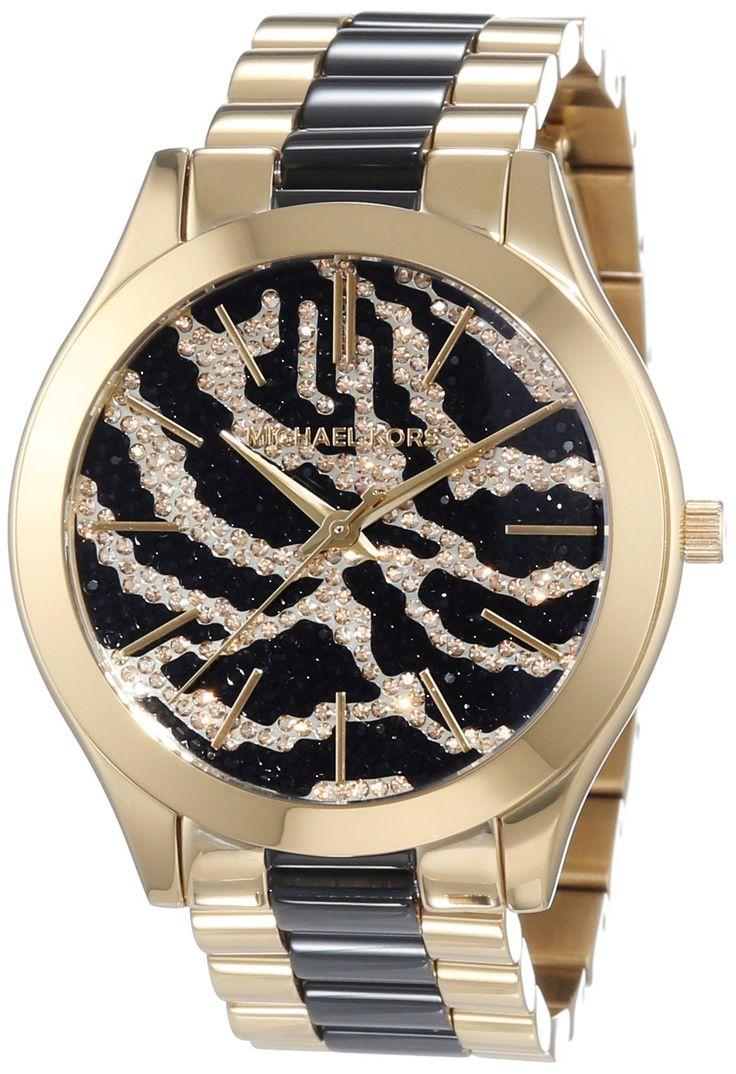 Michael Kors Slim Runway Zebra-pattern Crystal Pave Dial Two-tone Ladies Watch MK3315