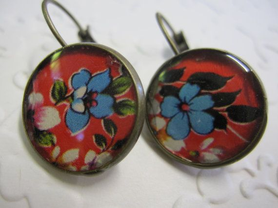 Vintage style patterned floral earrings in red white and black