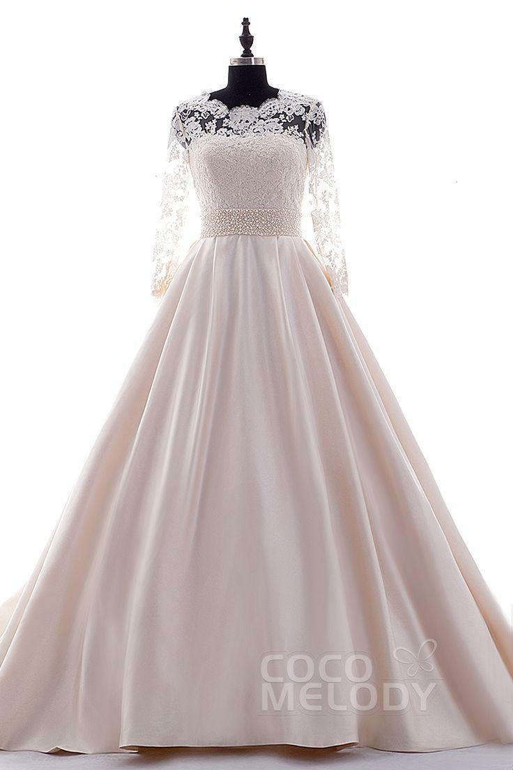 印象的 Aライン チャペルトレーン サテン 薄い ピンク 長袖 ジッパー ボタン ウェディングドレス ビーズ H2LS0108