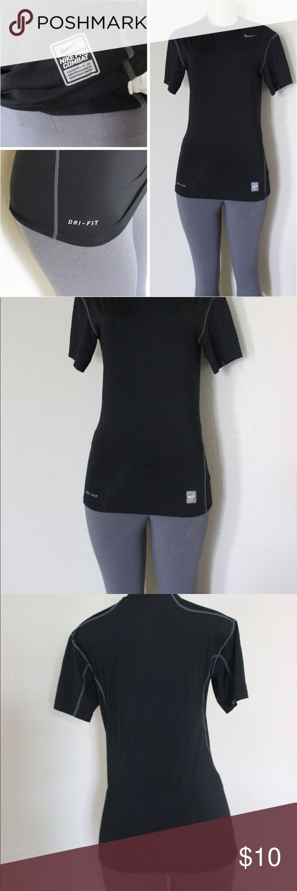 Nike pro Combat Dri Fit Shirt 🖤⭐️ Nike pro combat dri fit is size large has Nike  logo on top left of chest , has Nike combat logo on bottom left and dri fit logo on bottom right, also has Nike on the neck line from inside as see in pictures,it is a fitted shirt so it will be tight,  great conditions ⭐️ Nike Tops Tees - Short Sleeve