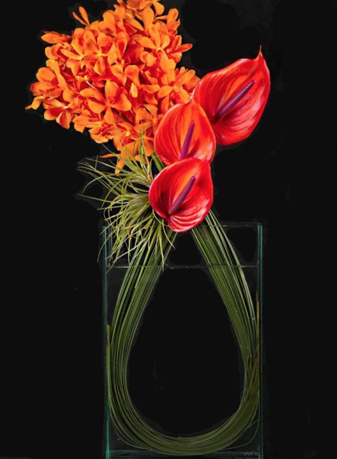 orange and coral modern floral arrangement