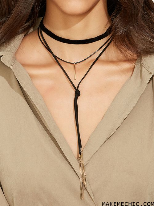 Black Layered Metal Tassel Vertical Bar Pendant Choker Necklace
