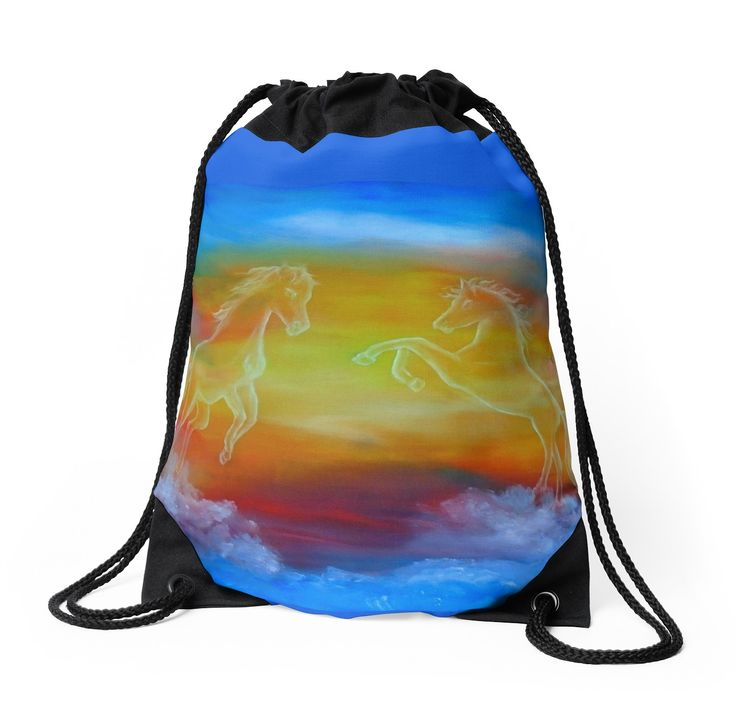 Drawstring Bag,  horses,sky,wild,animals,blue,colorful,impressive,beautiful,unique,trendy,artistic,unusual,accessories,for sale,design,items,products,ideas,redbubble