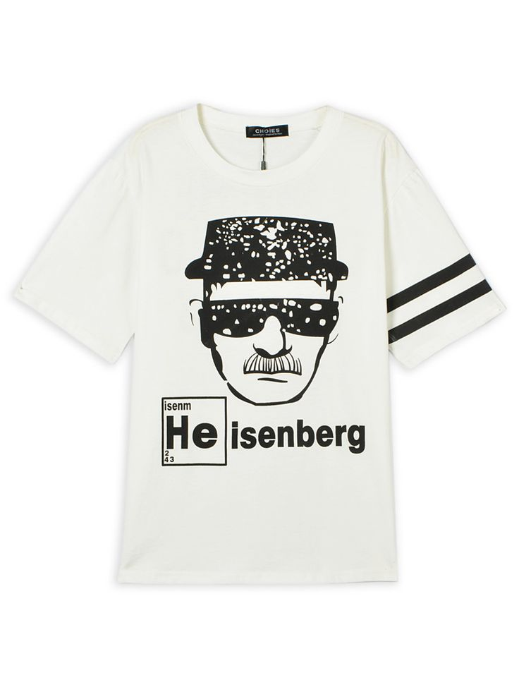 Sunglasses Detective Pattern Boyfriend Tee in White