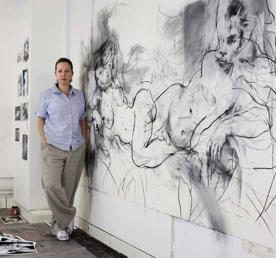 Jenny Saville RA in her Oxford studio, working on a large drawing for her show at Modern Art Oxford.