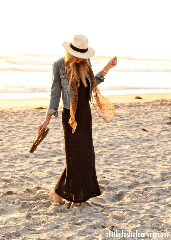 vacation outfit: maxi, denim jacket, scarf, fedora.