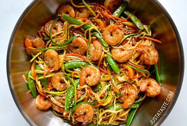 Asian Zucchini Noodle Stir-Fry with Shrimp | 12 Easy Asian Recipes To Try At Least Once, check it out at http://homemaderecipes.com/easy-asian-recipes/