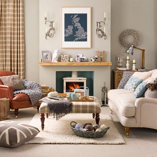 occasional plaid, neutral colours, shelf/fireplace