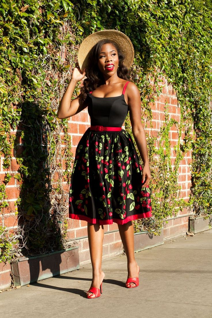 Pinup Couture Jenny Dress in Black Cherry Border Print